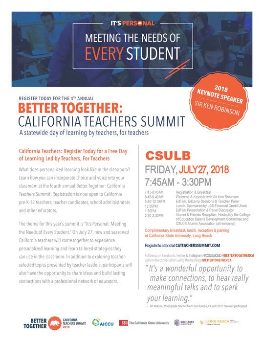 California Teachers Summit 2018 California State University Long